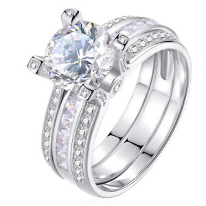 Wedding Band Engagement Ring Set For Women Round Cz White Gold Plated Size 8