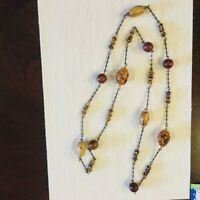 VINTAGE  Ann Cichon signed. Amber Lucite Beads bronze chain Necklace L 20.5""