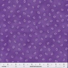 Laurel Burch Dogs & Doggies PAW PRINTS PURPLE Cotton Fabric By the FQ - 1/4 YD