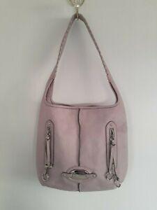 B. Makowsky Pale Pink Soft Leather Shoulder Bag Purse Animal Print Interior