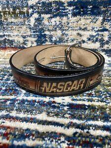 """Vtg Nascar Winston Cup Series Tooled Leather Belt Men's 36, 42"""" Made in USA 80s"""