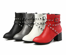 Women's Black/Beige/Red/Grey Synthetic Leather Mid Heel Ankle Boots AU Size O166