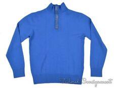 ZILLI Solid Blue CASHMER SILK Woven 1/2 Zip PYTHON TRIM Sweater Mens - EU 50 / M