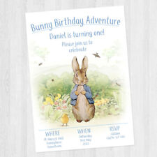 10 X PERSONALISED PETER RABBIT CHILDREN'S BIRTHDAY PARTY INVITATIONS