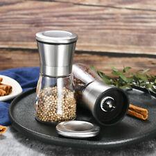 Stainless Steel Salt Pepper Grinder Shaker Glass Bottle Mill Coarse Kitchen Tool