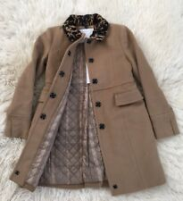 NWT AUTH BURBERRY GIRL CAMEL WOOL CASHMERE CHECK LINED CALF FUR COAT 10Y $750!