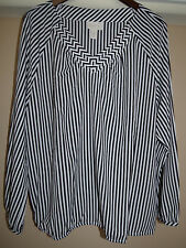 Chico's Boho Stripe Popover Peasant Top Black White $89 Size 3 16 18 XL New 1X