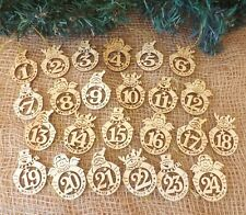 nordique Décoration sapin de Noël 24 rond en bois calendrier l'Avent étiquettes