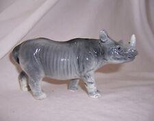 "Vintage Porcelain Ceramic Rhinoceros Rhino - 2¾"" H x 5¼"" L Figurine Japan"