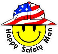 3 - Happy Safety Man Smiley USA Hardhat Oilfield Helmet Toolbox Sticker  H895