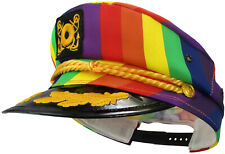 Adult Yacht Boat Ship Sailor Captain Costume Hat Rainbow Gay Pride Skipper Cap