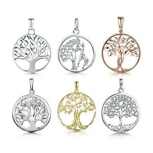Amberta Real 925 Sterling Silver Tree of Life Pendant for Women Family Medallion