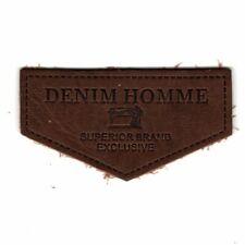 Ecusson Applique A COUDRE Denim Homme Coloris Tabac 3,50 x 6,50 cm Cuir Véritabl