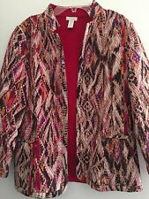 CHICO'S WOMENS BLAZER COTTON MULTI COLOR WITH POCKETS ON THE FRONT 1 (8/10)