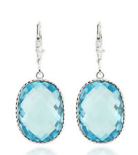 14K White Gold Gemstone Earrings With Large Oval Blue Topaz Drop