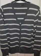 Mens Grey Striped Cardigan Medium NEW