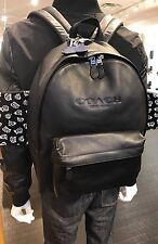 COACH Men Backpack Black Charles Soft Sport Calf Leather F54786 Large Size NWT