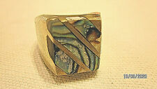 Size 9.5 Mexico sterling silver ring stone uniquely set abalone shell center