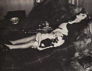 1931/76 Vintage BRASSAI Paris Opium Drug Smoking Pipe Woman Cat Photo Art 12X16