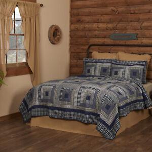 VHC Brands Rustic Queen Quilt Blue Patchwork Columbus Cotton Bedroom Decor