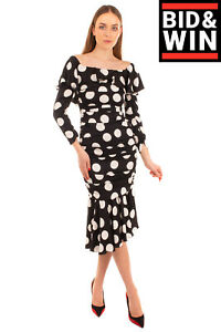 RRP€2480 DOLCE & GABBANA Trumpet Dress Size IT42 S Silk Blend Polka Dot Ruffled