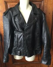 RARE! Vintage VANSON Motorcycle POLICE Officer HEAVY Black Leather JACKET, Sz 52