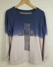 Women's Christian Stud Cross Sweater Ombre Pink And Blue XL