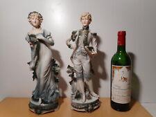 Paire statue sculpture sujet biscuit porcelaine femme homme prince princesse