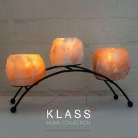 Himalayan Natural Crystal Rock Salt Iron Arc-shaped Three Tealight Candle Holder
