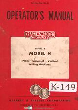 Kearney Trecker H 2h K Ch Ck Csm 2 3 4 5 6 Milling Machine Operators Manual