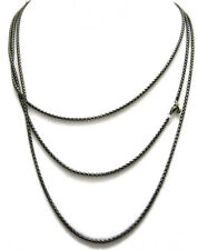 David Yurman 72 inch Small Black Box Chain Necklace Sterling Silver/PVD NWT