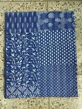 Kantha Quilt Blue Indigo Bedding Handmade Throw Bedspread Blanket Cotton Hippie