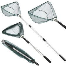 Folding Handle Fishing Landing Net Aluminum 3 Section Extending Pole Triangular