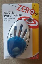 ZERO-IN PLUG-IN INSECT KILLER with 2 pin travel adapter * BRAND NEW & SEALED *