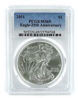 2011 1oz American Silver Eagle PCGS MS69 - Blue Label