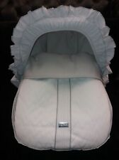 Brand new Spanish grey and white baby 0+ car chair cover with matching hood