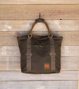 NEW FISHPOND HORSE THIEF TOTE BAG WAXED COTTON CANVAS IN MOSS + FREE US SHIP