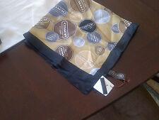 New! NWT Coach Gallery Button Silk Scarf Khaki / Black