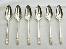6 x SILVER PLATED ART DECO ROSE PATTERNED GRAPEFRUIT SPOONS    1520071/074
