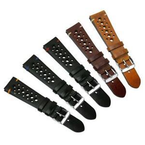 Geckota® Vintage Grand Prix Genuine Leather Watch Strap Racing, 20mm & 22mm
