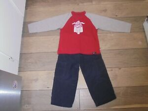 Gymboree Cool Wheels Scooter shirt & blue lined athletic pants outfit set boys 4