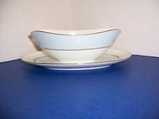 Vintage Noritake Laureate Gravy Boat w/ Attached Underplate White Floral on Blue
