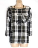 Women's Vintage MARKS & SPENCER 3/4 Sleeve Check Cotton Blend Blouse Tunic UK20