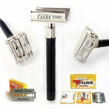 FREE BLADES + MEN'S TRADITIONAL CLASSIC DOUBLE EDGE BUTTERFLY SAFETY RAZOR SHAVE