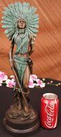 INDIAN CHIEF Bronze Sculpture Statue Art Warrior Spirit American Native Figurine