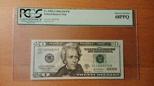 2004 $20 Federal Note FRN Fancy Super Lucky Serial 18888878 PCGS 68 PPQ
