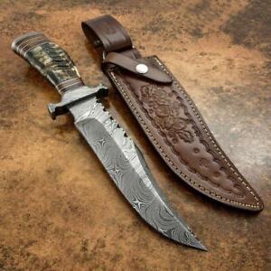 HANDMADE DAMASCUS BLADE GAURD HUNTING BOWIE KNIFE HORN HANDLE KNIFE IN FIRE