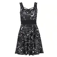 Rosetic Astrology Black Strap Mini Dress - Gothic,Goth