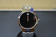 Movado Faceto Black Museum Dial Stainless Men's Watch 84 45 1891 * Pre-owned*