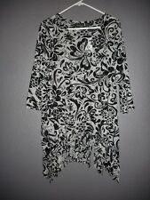 Chicos Travelers Baroque Lace Fringe TOP Black/Ecrue Paisley Chicos 2 Sz 12  NWT